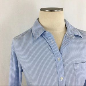 Aritzia Talula blue stripe classic shirt in small